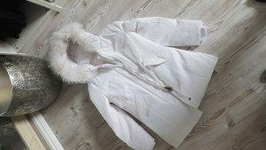 Manteau à capuche blanc tissu mixte