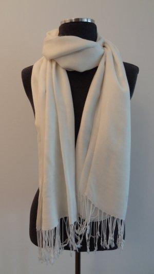 Weißer Pashmina-Schal mit Fransen