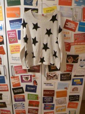 Weißer Pulli mit Sternen von H&M, Strick, Grobstrick, Oversize, Winter, Blogger