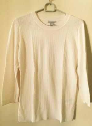 Weißer Pullover in Strickoptik