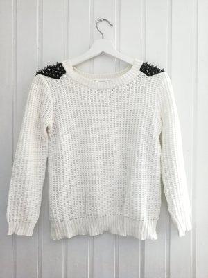 Weißer Pullover mit Nieten gr. 34 neuwertig