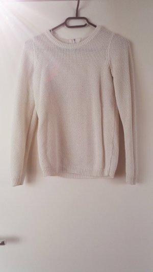 Weißer Pullover mit Reißverschluss am Rücken