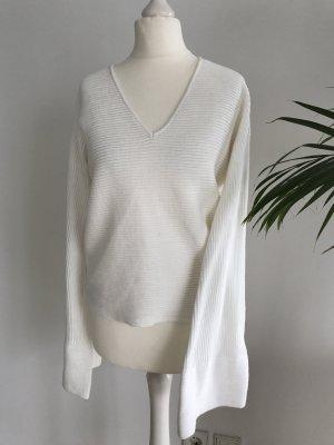 Weißer Pullover Pulli mit weiten Ärmeln dG 34-36