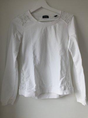 Weißer Pullover Sweatshirt mit Spitzeneinsatz 36/38