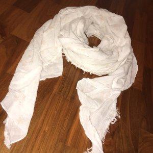Weißer Schal/Tuch mit hellrosa Sternen