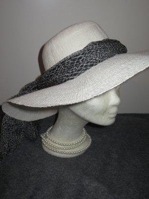 weißer Sommerhut Hut Sonne 100% Papier Stroh