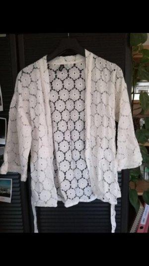 Weißer Spitzen Kimono