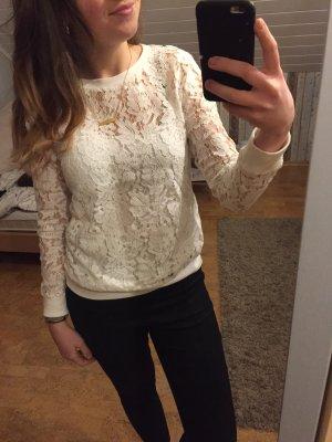 Weißer Spitzensweater