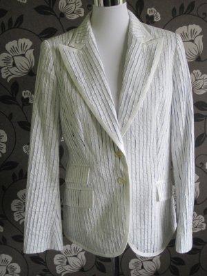 Weißer Stiff Baumwollblazer mit blauen Streifen Größe 42