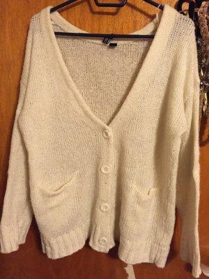 weißer Strick-Cardigan von H&M, Größe 42, mit Ellbogen- Patches