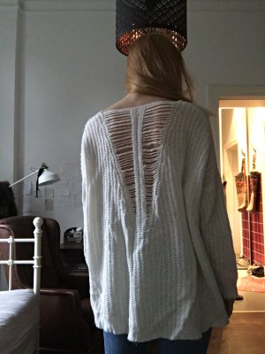 Weißer Strickpullover sweater mit V Ausschnitt creme Pullover strick grobgestrickt Rückenausschnitt