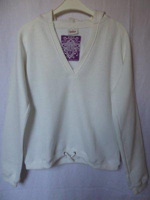 Weißer Sweat-Pullover mit Kapuze und V-Ausschnitt