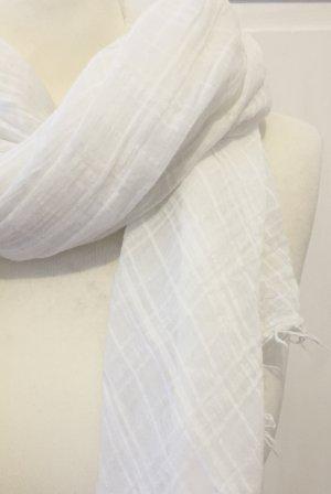 Weißer transparenter Schal mit Karomuster