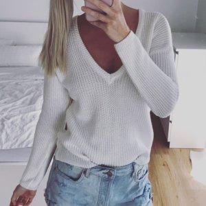 weißer V-Ausschnitt Strick-Pullover