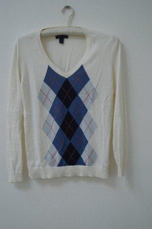 Weißer V-Neck Pullover mit klassischem preppy Rautenmuster von Hilfiger
