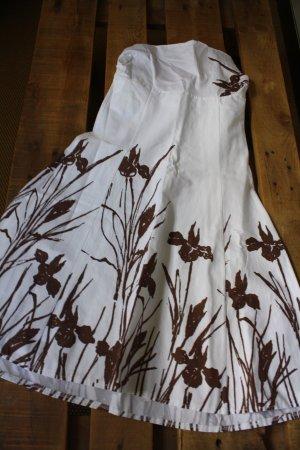Weißes Bandeaukleid mit braunem Blumenmuster in Gr. S