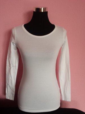 Weißes Basic-Langarmshirt