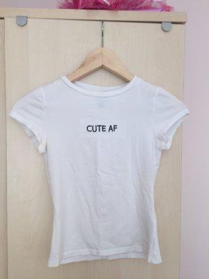 Weißes Basic-Shirt mit Aufschrift in XS