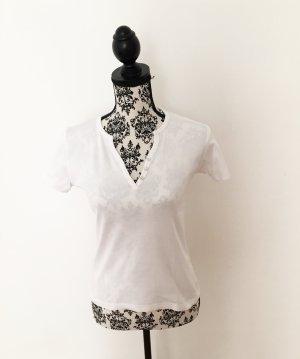 weißes Basic-Shirt mit Knöpfen