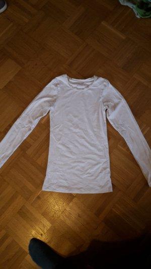 weißes Basic shirt mit langen Ärmeln