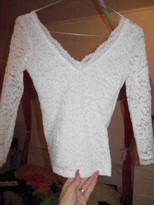 weißes Bershka-Shirt, Größe XS, Spitze, V-Ausschnitt, noch nie getragen, auch in schwarz verfügbar