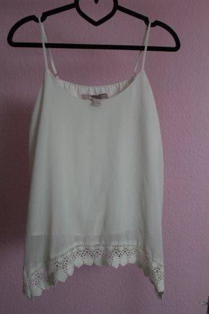 Weißes Blusen-Top mit Spitze