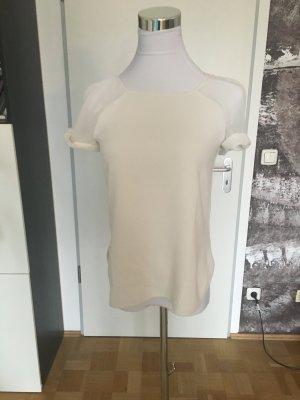 Weißes BlusenShirt mit Transparenteinsatz, Promod, XS