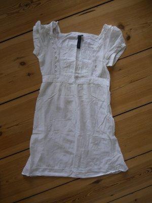 weißes Boho Baumwollkleid Babydoll mit Stickerei