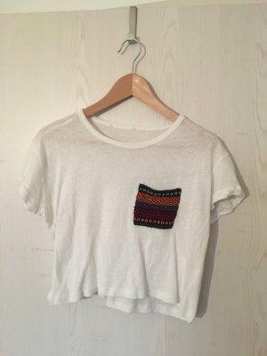 Weißes Boho Cropped Tshirt