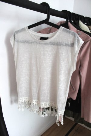 Weißes Boho T-Shirt