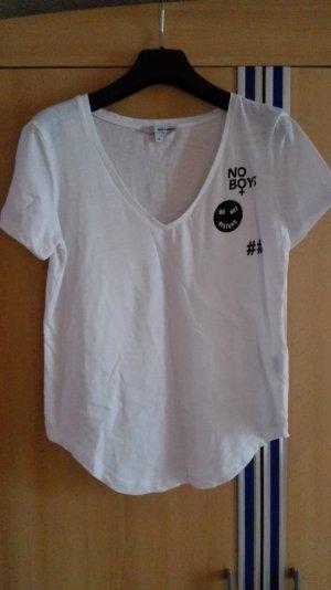 Weißes Boyfriend T-Shirt mit Aufdruck Größe 36 S