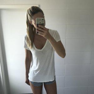 weißes Boyfriend T-Shirt mit V-Ausschnitt