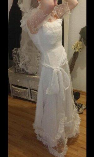 weißes Brautkleid Vintage Polka Dots 36