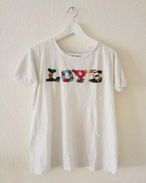 Weißes bunt besticktes LOVE T-Shirt