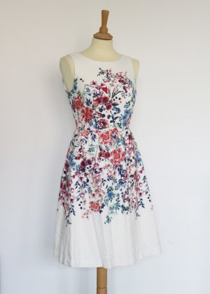weißes Cocktailkleid mit bunten Blumen 34 Yessica Skaterkleid