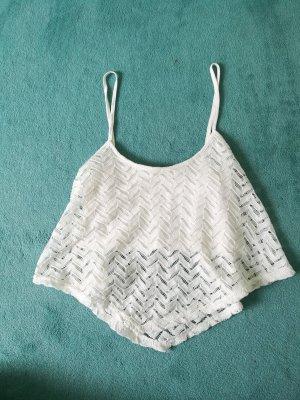 Bershka Crochet Top white