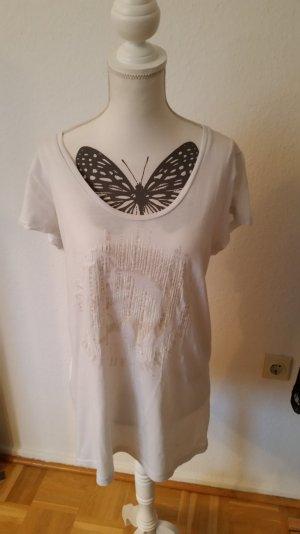 Weißes Diesel T-shirt mit Print und Pailletten vorne. Schöner Rundhalsausschnitt