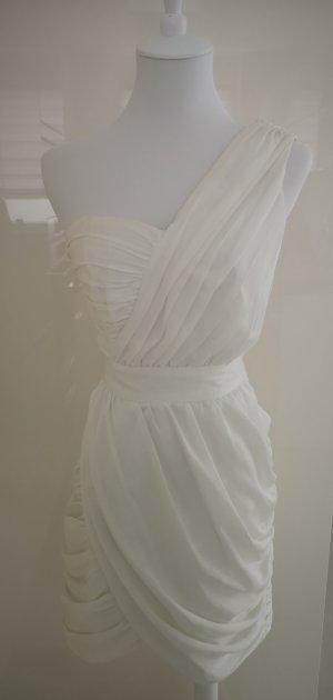 Weißes Ein - Schulter Kleid gerafft mit Corsage in 34