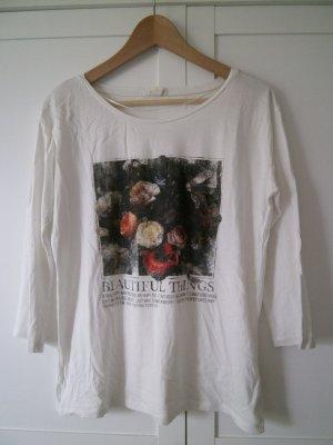 Weißes Esprit Top mit hübschem Rosen-Print, Größe L, 3/4 Ärmel