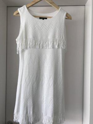 Weißes Fransen Kleid, Größe 40 Strick Optik, kurzes Kleid