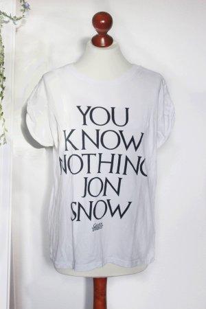 Weißes Game Of Thrones Print Shirt Jon Snow 38 S Primark Merchandise