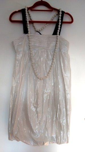 Weißes Glitzer-Kleid mit Perlenkette, NEU mit Etikett #Weihnachten #Silvester