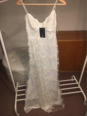 100% Fashion Kanten jurk wit