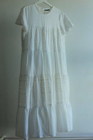 Zara Vestido estilo flounce blanco Algodón