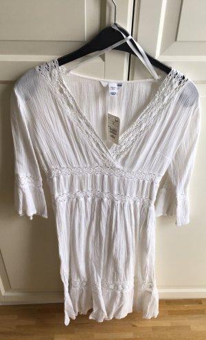 HM Vestido Hippie blanco tejido mezclado