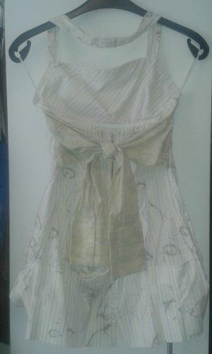 weißes Kleid mit Aufdruck, glitzernde gold silber Details