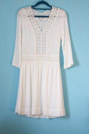 Weißes Kleid mit Spitzendetail Wie Neu