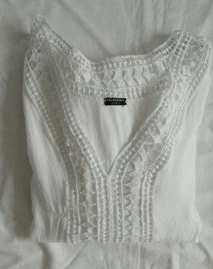 Weißes Kleid mit Spitzeneinsatz und Volants CALZEDONIA M