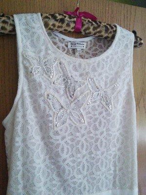 Weißes Kleid, Plisee, Spitze, Glitzer, Schmetterling