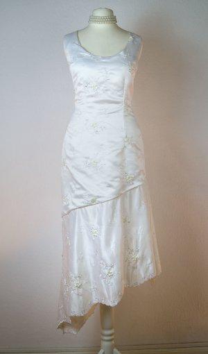 Weisses Kleid, Satin bestickt mit Perlen, Blume, Glitzer-Hochzeitskleid